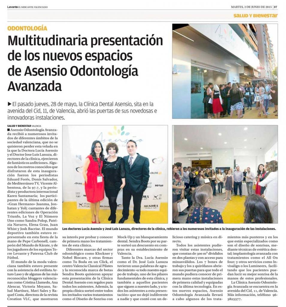 Inauguración de Asensio Odontologia Avanzada – Levante 02-06-15