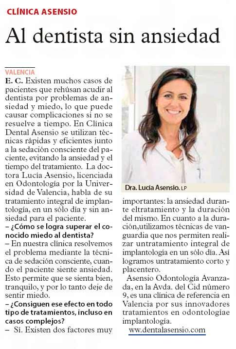Dental Asensio en el periódico Las Provincias – Octubre de 2015