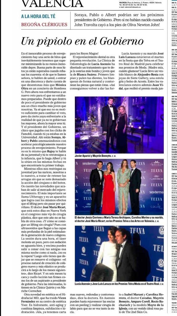 """Clínica dental Asensio en la columna """"A la hora del té"""" en El Mundo Valencia"""