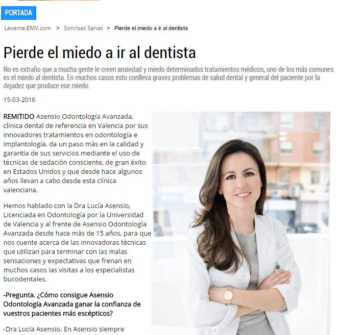"""Clínica dental Asensio en la sección """"Sonrisas Sanas"""" en El Levante"""