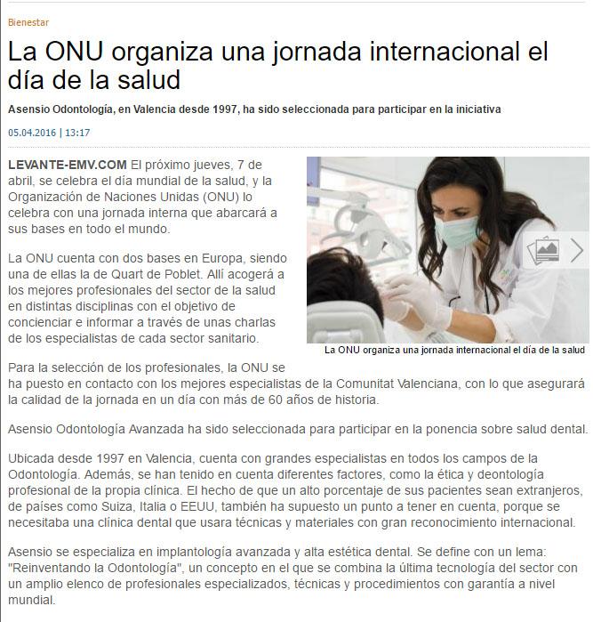 Asensio Odontología Avanzada participa en las jornadas internacionales de la ONU en el día de la salud