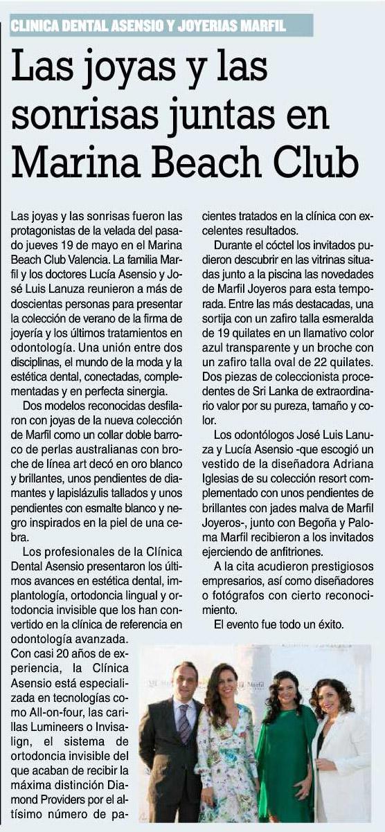 Asensio Odontología Avanzada en Marina Beach y su repercusión mediática