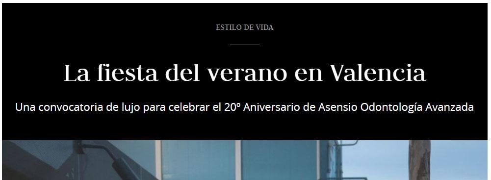 20 Aniversario de Asensio Odontología Avanzada en prensa