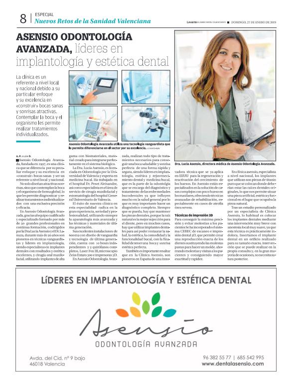 Asensio Odontología Avanzada en el periódico Levante